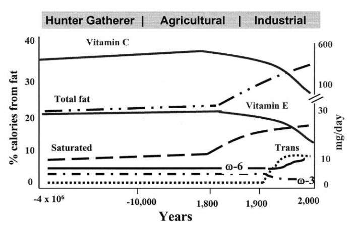 consumo de omega-3 y omega-6 a través de la historia