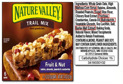 lista de ingredientes en etiqueta nutricional nutrimental