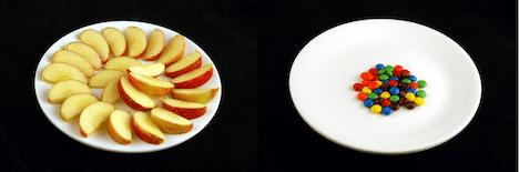 calorías de manzana y m&ms