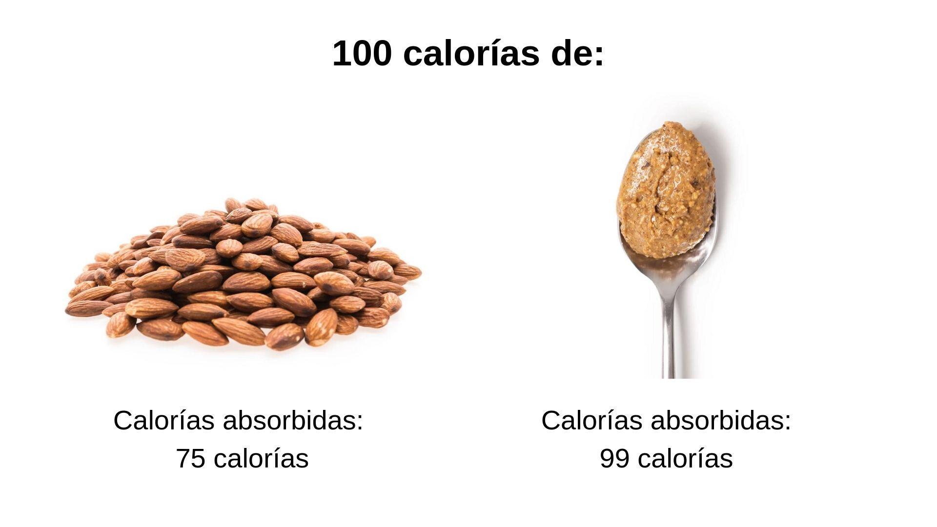 calorías de almendras y crema de almendra