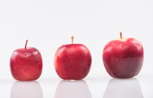 manzanas de diferentes tamaños