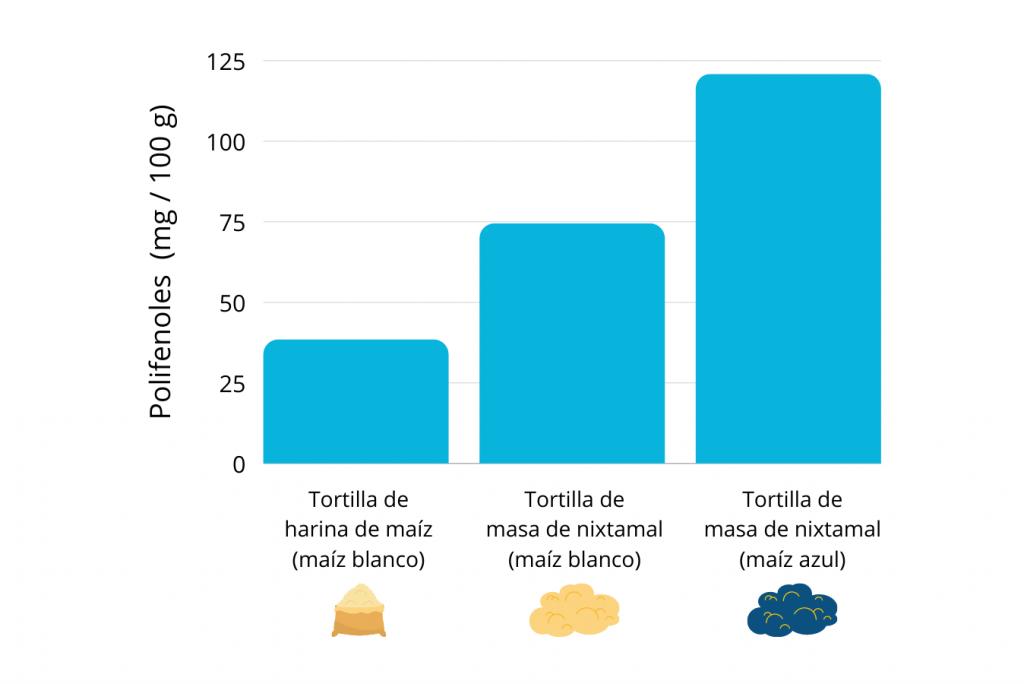 polifenoles en tortilla de maíz azul